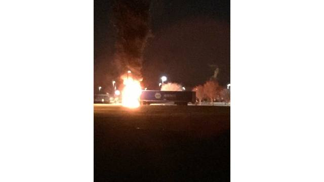 Tractor trailer catches fire in parking lot of Cumberland Valley