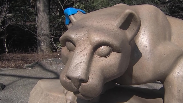 Damaged ear of Penn State mascot's statue repaired