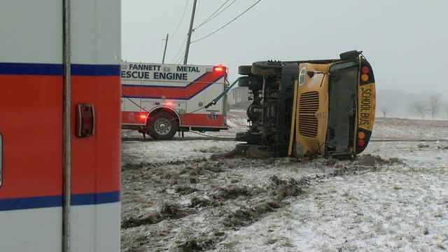 School bus overturned by wind, icy road