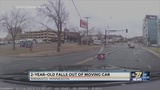 Toddler OK after tumbling from moving vehicle